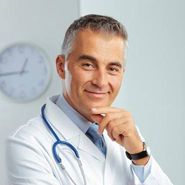 Doctor with stethoscope and hand on chin